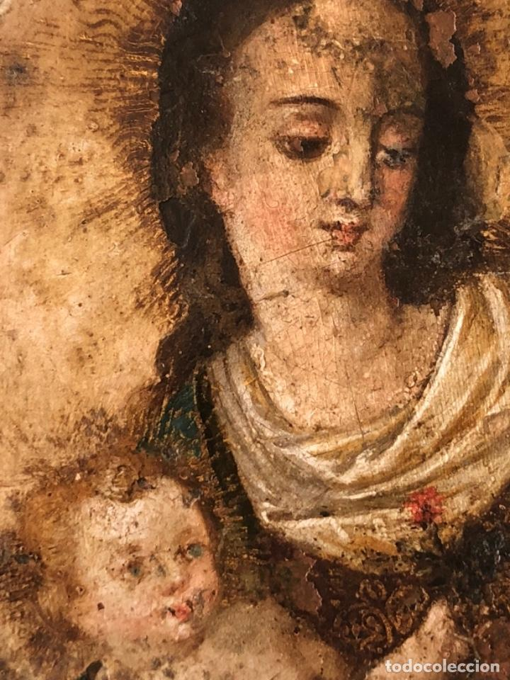 Arte: ÓLEO SOBRE COBRE, VIRGEN INMACULADA Y NIÑO JESÚS, BARROCO, SIGLO XVII - Foto 3 - 186085907