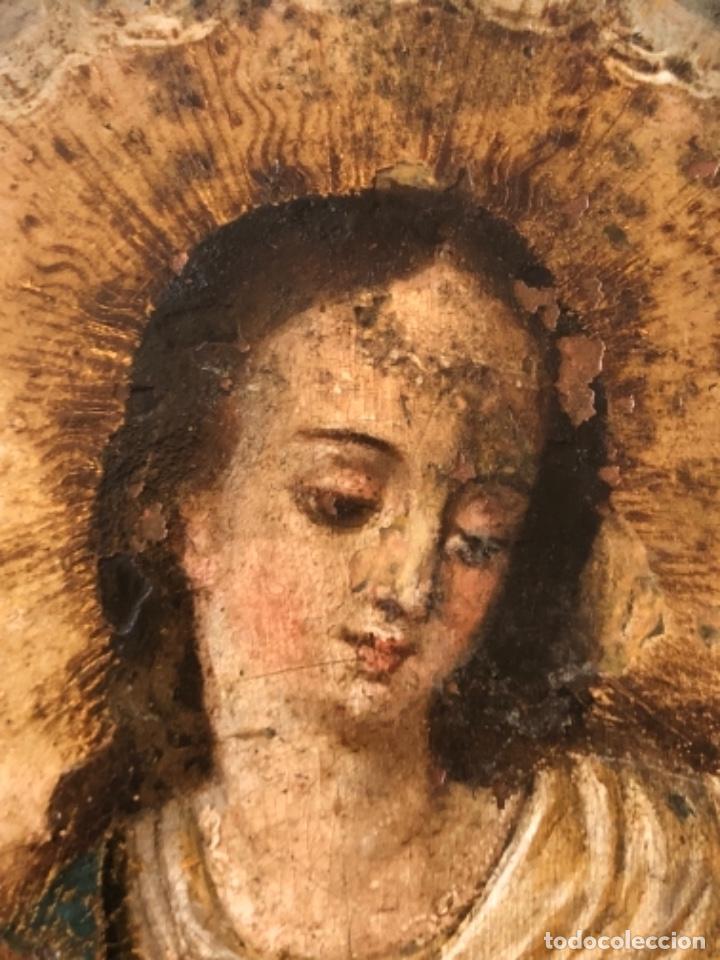 Arte: ÓLEO SOBRE COBRE, VIRGEN INMACULADA Y NIÑO JESÚS, BARROCO, SIGLO XVII - Foto 6 - 186085907