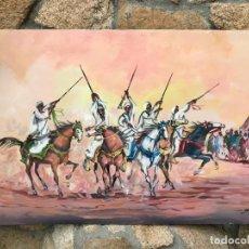 Arte: LAKROLLNE - EL FESTIVAL DE CABALLOS DE TISSA ÓLEO SOBRE LIENZO - FIRMADO A MANO - 1950. Lote 186134726