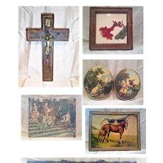 Arte: LOTE DE 7 PIEZAS ANTIGUAS, CUADROS, AZULEJO, CRUCIFIJO.... Lote 186135883