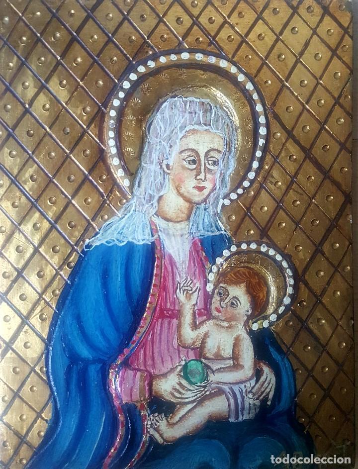 Arte: Retablo pintado con representación de la virgen con el niño firmado A Busquets - Foto 2 - 186151356