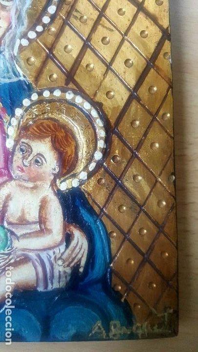 Arte: Retablo pintado con representación de la virgen con el niño firmado A Busquets - Foto 5 - 186151356