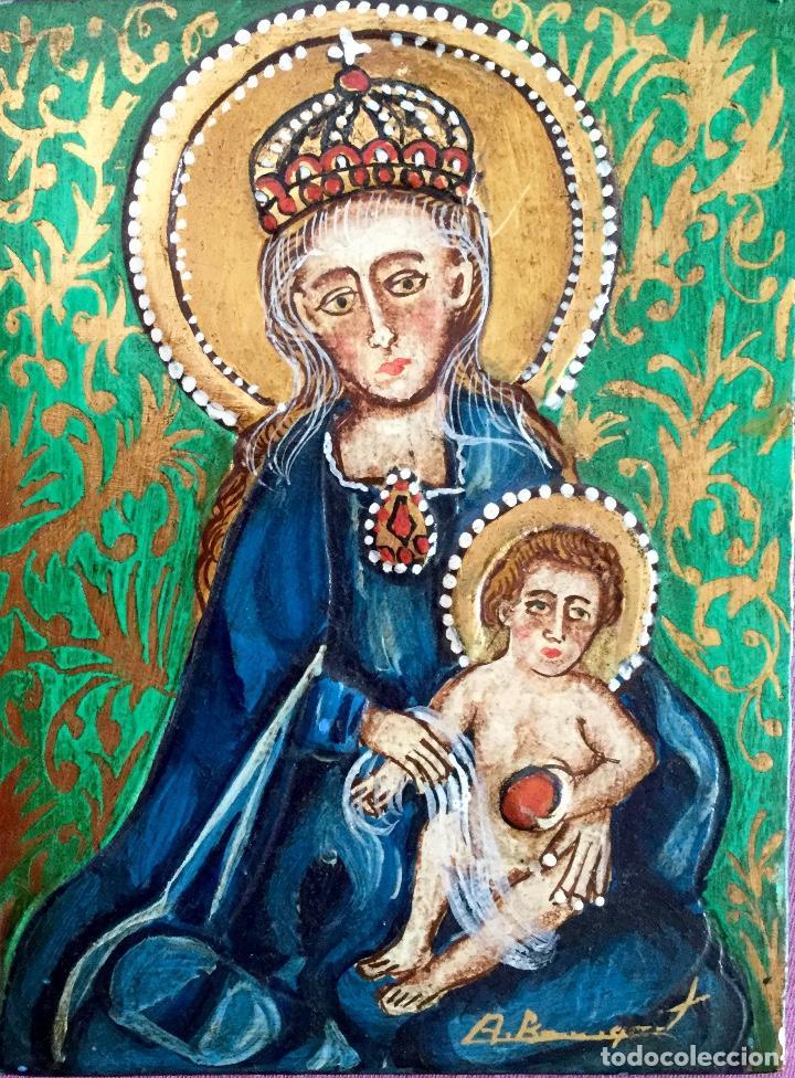 RETABLO CON REPRESENTACIÓN DE LA VIRGEN CON EL NIÑO FIRMADO A BUSQUETS (Arte - Arte Religioso - Iconos)