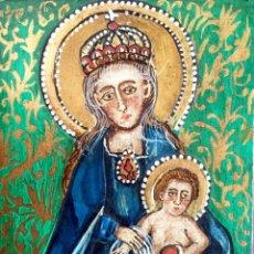 Arte: RETABLO CON REPRESENTACIÓN DE LA VIRGEN CON EL NIÑO FIRMADO A BUSQUETS. Lote 186216536