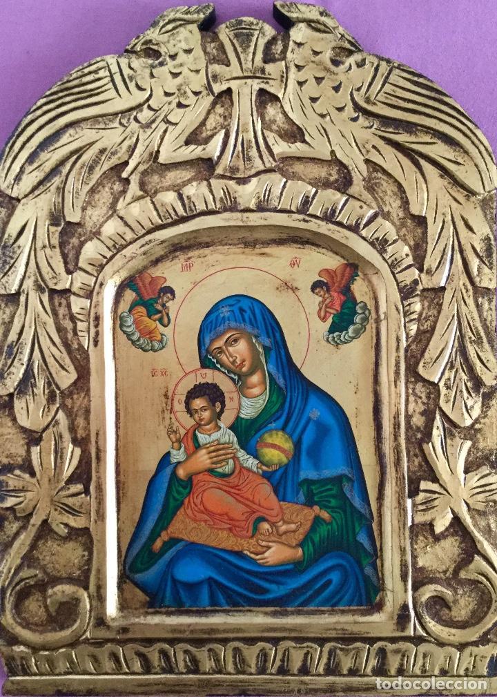 ICONO RUSO PINTADO A MANO SEGÚN LOS PROCEDIMIENTOS DEL ARTE BIZANTINO 32,5X44CM (Arte - Arte Religioso - Iconos)