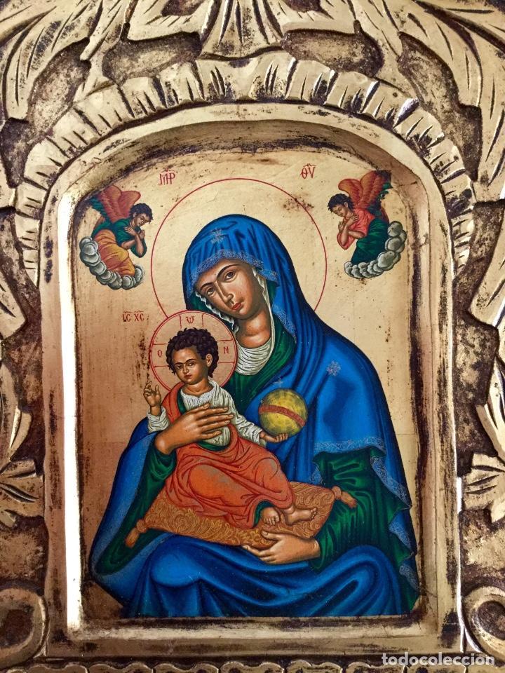 Arte: Icono ruso pintado a mano según los procedimientos del Arte Bizantino 32,5x44cm - Foto 2 - 186217778