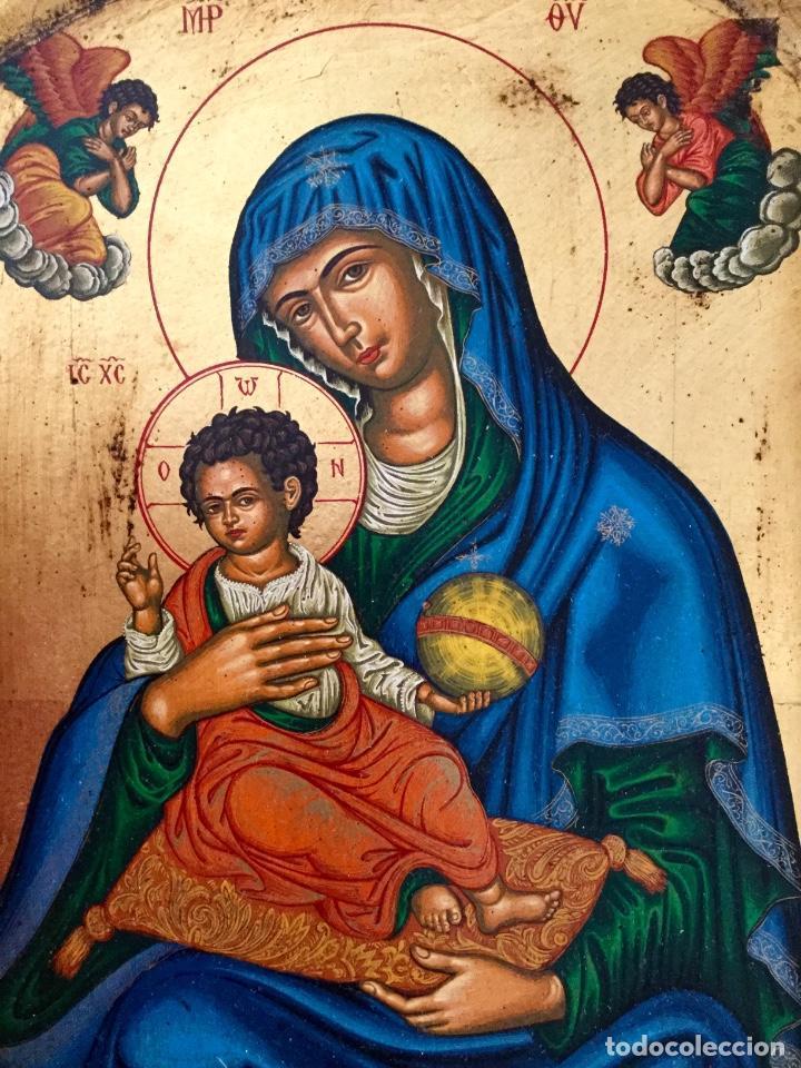 Arte: Icono ruso pintado a mano según los procedimientos del Arte Bizantino 32,5x44cm - Foto 3 - 186217778