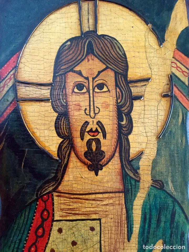 Arte: Retablo al estilo románico pintado a mano siguiendo procedimientos antiguos 20x30cm - Foto 4 - 186218750