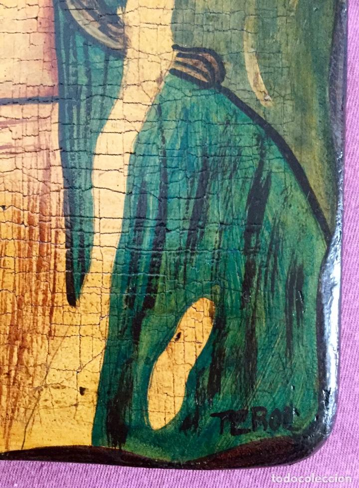 Arte: Retablo al estilo románico pintado a mano siguiendo procedimientos antiguos 20x30cm - Foto 5 - 186218750