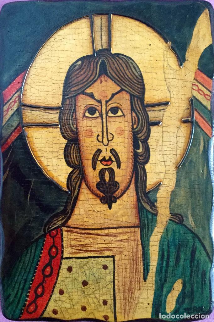 RETABLO AL ESTILO ROMÁNICO PINTURA ARTESANAL 16X23CM (Arte - Arte Religioso - Retablos)