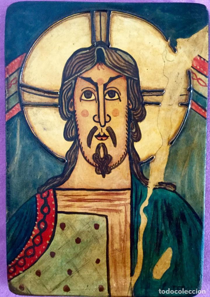 Arte: Retablo al estilo románico pintura artesanal 16x23cm - Foto 3 - 186219213