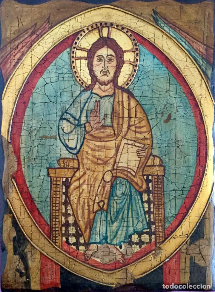 RETABLO PINTADO SIGUIENDO PROCEDIMIENTOS ANTIGUOS CON REPRESENTACIÓN DEL PANTOCRÁTOR FIRMADO 30X40CM (Arte - Arte Religioso - Retablos)