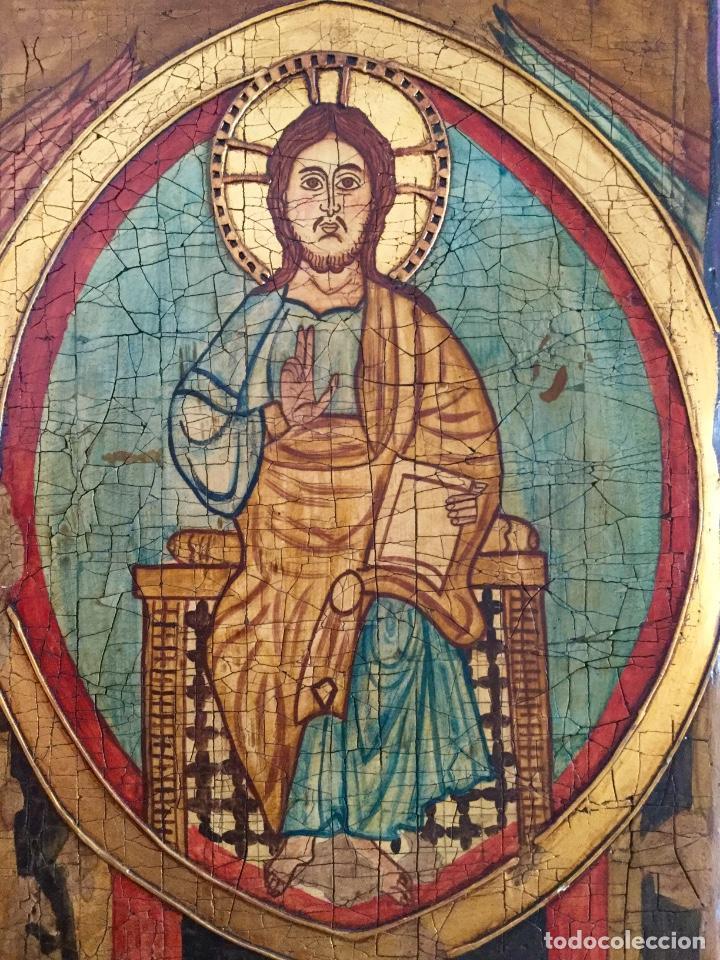Arte: Retablo pintado siguiendo procedimientos antiguos con representación del Pantocrátor firmado 30x40cm - Foto 2 - 186219706