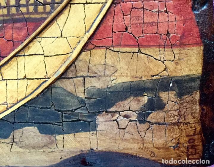 Arte: Retablo pintado siguiendo procedimientos antiguos con representación del Pantocrátor firmado 30x40cm - Foto 4 - 186219706