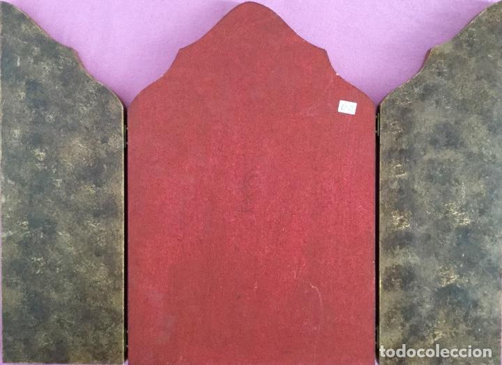 Arte: Tríptico religioso con puertas decoradas - Foto 5 - 186220266