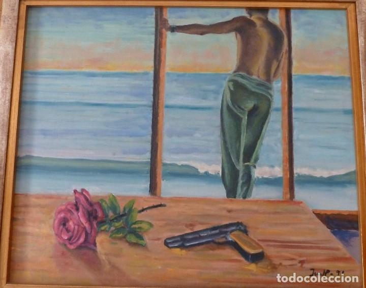 Arte: ÓLEO SOBRE TELA DE 56X47 CMS, LA DUDA. AÑO 1991 - Foto 2 - 186165228