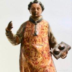 Arte: PRECIOSA Y FANTÁSTICA ESCULTURA , SIGLO XVIII SAN ESTEBAN TALLADA A MANO POLICROMIA ORIGINAL .. Lote 186335652
