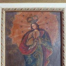 Arte: OLEO SOBRE TELA IMAGEN DE VIRGEN CON MARCO DE MADERA 26 X 32. Lote 186378526