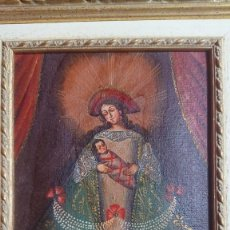 Arte: OLEO SOBRE TELA CON IMAGEN RELIGIOSA DE VIRGEN CON MARCO DE MADERA 26 X 32. Lote 186378721