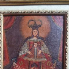 Arte: OLEO SOBRE TELA CON IMAGEN RELIGIOSA DE VIRGEN CON MARCO DE MADERA 26 X 32. Lote 186379017