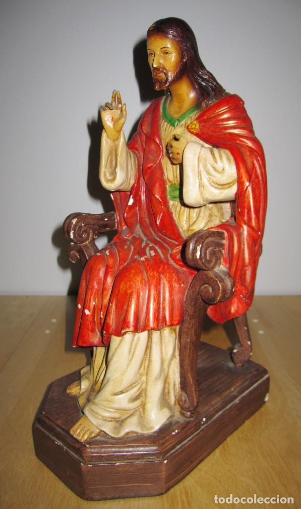 Arte: Antigua imagen figura Sagrado Corazón Jesús entronizado en trono sobre altar capilla madera - Foto 8 - 186402868