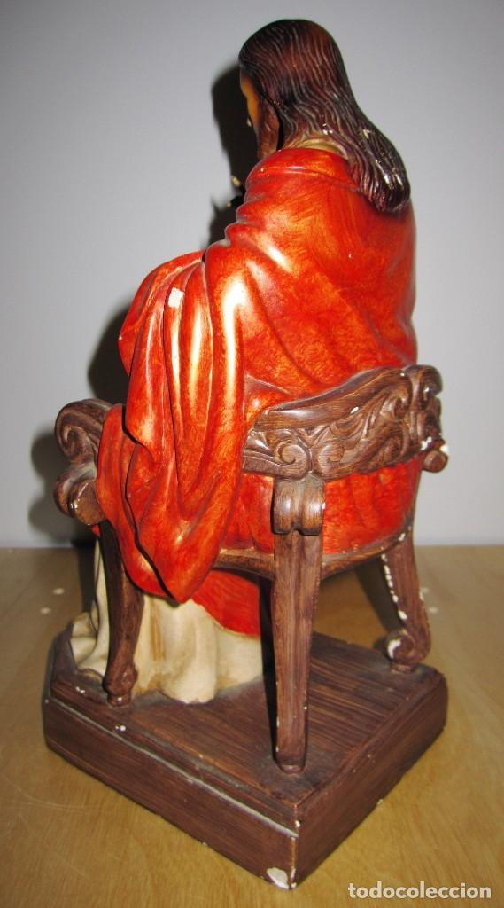 Arte: Antigua imagen figura Sagrado Corazón Jesús entronizado en trono sobre altar capilla madera - Foto 10 - 186402868