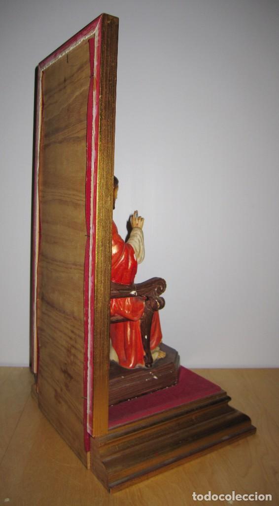 Arte: Antigua imagen figura Sagrado Corazón Jesús entronizado en trono sobre altar capilla madera - Foto 19 - 186402868