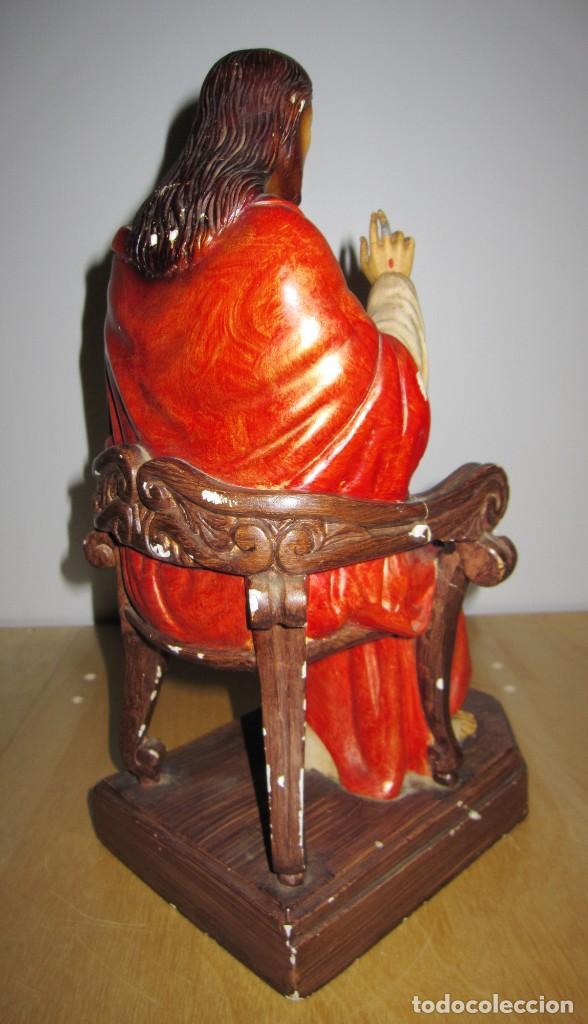 Arte: Antigua imagen figura Sagrado Corazón Jesús entronizado en trono sobre altar capilla madera - Foto 20 - 186402868