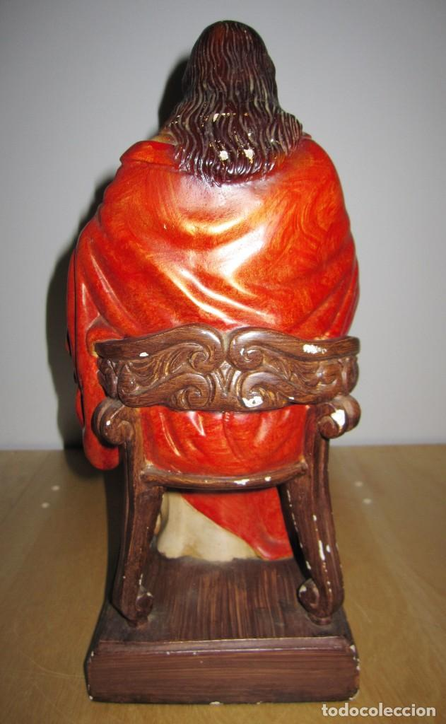 Arte: Antigua imagen figura Sagrado Corazón Jesús entronizado en trono sobre altar capilla madera - Foto 21 - 186402868