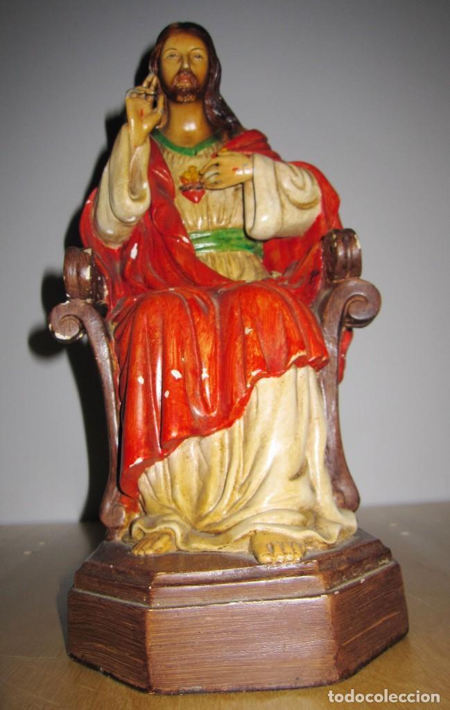 Arte: Antigua imagen figura Sagrado Corazón Jesús entronizado en trono sobre altar capilla madera - Foto 22 - 186402868