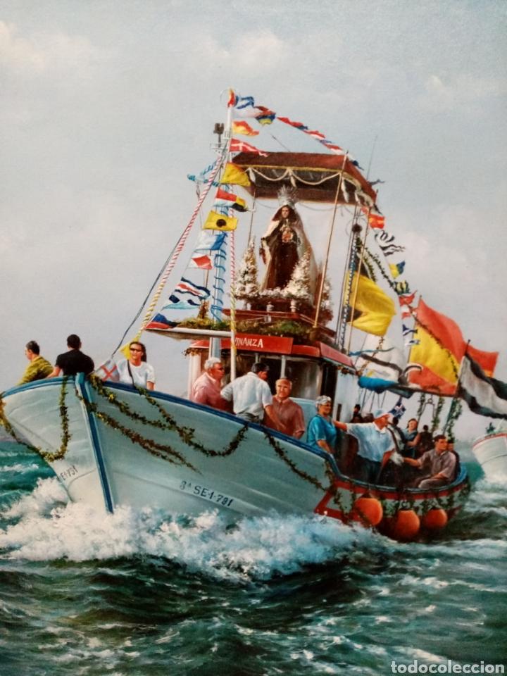 Arte: Cuadro marina oleo lienzo Virgen del Carmen en procesión - Foto 2 - 186418795