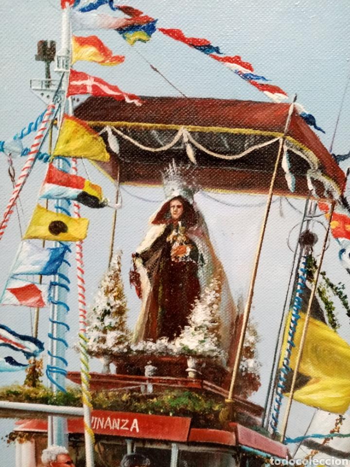 Arte: Cuadro marina oleo lienzo Virgen del Carmen en procesión - Foto 3 - 186418795