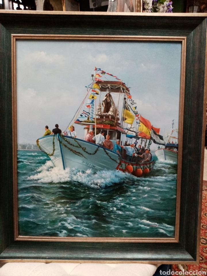 CUADRO MARINA OLEO LIENZO VIRGEN DEL CARMEN EN PROCESIÓN (Arte - Arte Religioso - Pintura Religiosa - Oleo)