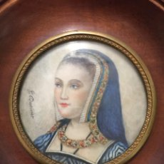 Arte: RETRATO MUJER, ACUARELA SOBRE MARFIL, FIRMADO G. DUVIVIER SIGLO XIX, ENMARCADO. Lote 186434593