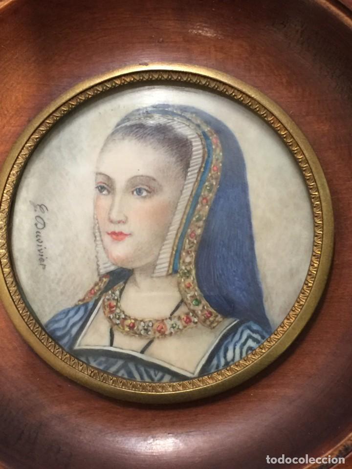Arte: RETRATO MUJER, ACUARELA SOBRE MARFIL, FIRMADO G. DUVIVIER SIGLO XIX, ENMARCADO - Foto 5 - 186434593