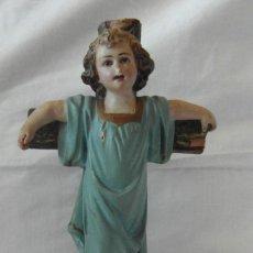 Arte: NIÑO JESUS EN LA CRUZ CON OJOS DE CRISTAL CON SELLO DE OLOT. Lote 187172263
