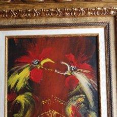 Arte: MANUEL VIOLA ,JOSÉ VIOLA GAMÓN ( 1916 - 1987) :PELEA DE GALLOS. ÓLEO SOBRE TABLA.. Lote 187179105