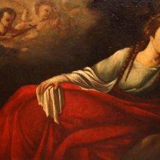 Arte: ESCUELA ESPAÑOLA DE MEDIADOS DEL SIGLO XVIII OLEO SOBRE TELA. MARIA MAGDALENA. 66 X 125 CM.. Lote 187192353