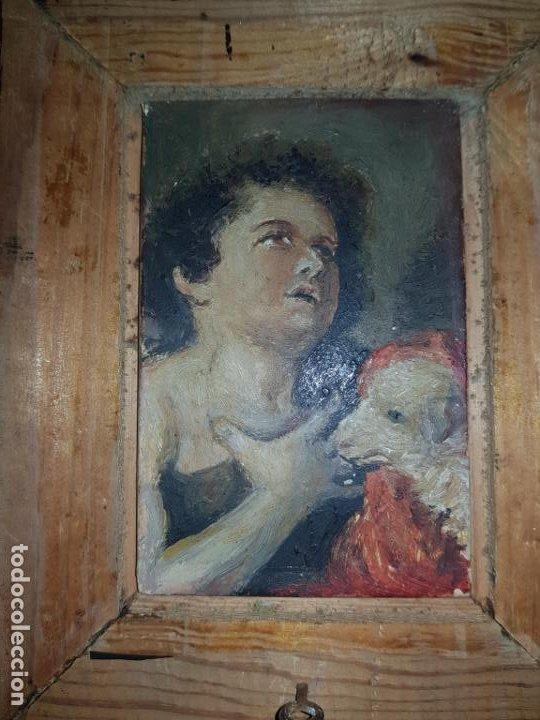 MINIATURA DE CUADRO OLEO SOBRE LIENZO (Arte - Arte Religioso - Pintura Religiosa - Oleo)