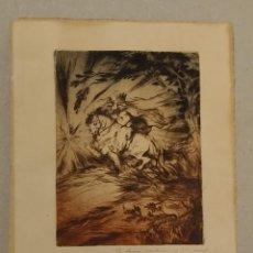 Arte: SANTIAGO APÒSTOL GRABADO DE MANUEL ARISTIZABAL GALICIA FIRMADO Y DEDICADO. Lote 187304656