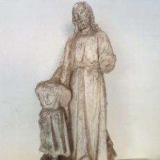 Arte: IMAGEN MODELO DE OLOT. SAN JOSÉ Y EL NIÑO JESÚS . SELLO INCISO. 85 CENTÍMETROS.. Lote 187306003