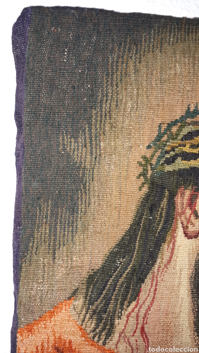 Arte: Imágene de Jesús en tapiz hecho a mano con lana y algodón - Foto 5 - 187421108