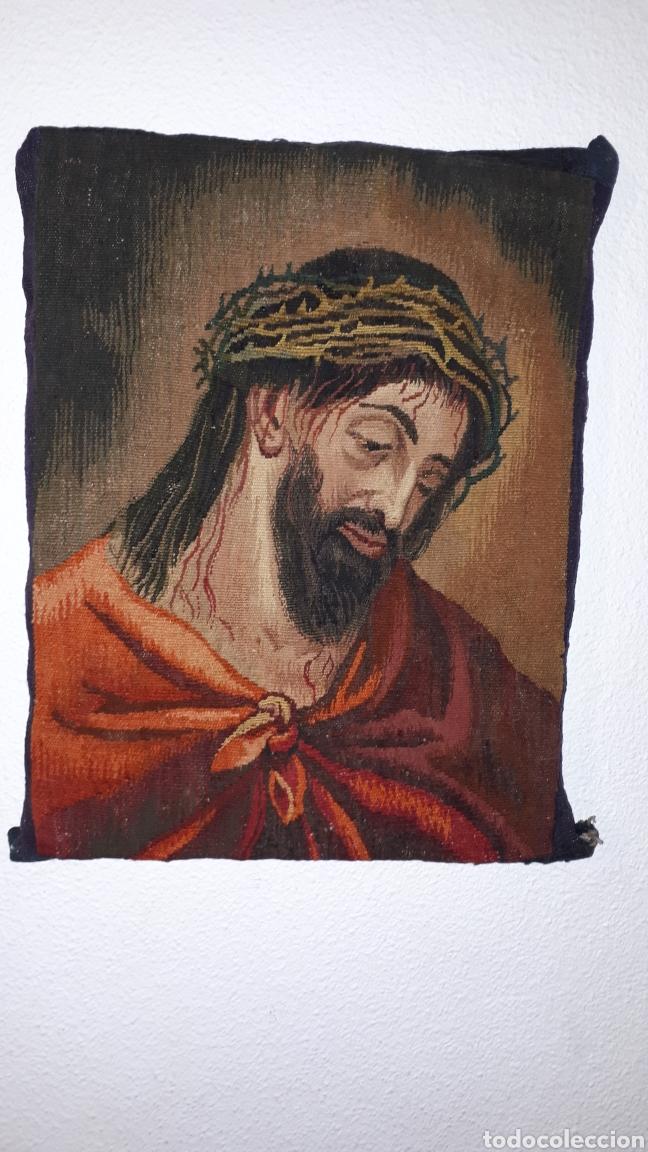 IMÁGENE DE JESÚS EN TAPIZ HECHO A MANO CON LANA Y ALGODÓN (Arte - Arte Religioso - Pintura Religiosa - Otros)