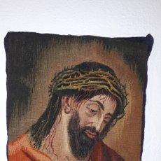 Arte: IMÁGENE DE JESÚS EN TAPIZ HECHO A MANO CON LANA Y ALGODÓN. Lote 187421108