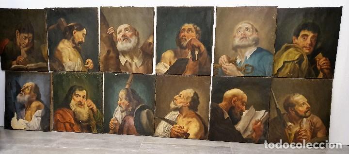 MAGNIFICA COLECCION DE OLEOS SOBRE LIENZO DE LOS 12 APOSTOLES (Arte - Arte Religioso - Pintura Religiosa - Oleo)