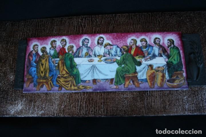 Arte: BONITO ESMALTE SOBRE PLAFÓN DE MADERA, CON REPRESENTACION DE LA SANTA CENA . - Foto 2 - 187512101