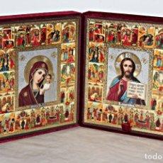 Arte: ICONO DOBLE DE VIAJE. (1) - MADERA, TERCIOPELO Y PAN DE ORO.BIZANTINO - SEGUNDA MITAD DEL SIGLO XX. Lote 187517626