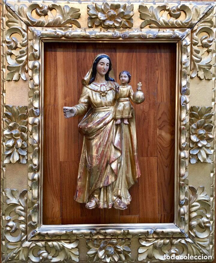 VIRGEN CON EL NIÑO. 51CM. ESCUELA ANDALUZA S.XVIII (Arte - Arte Religioso - Escultura)