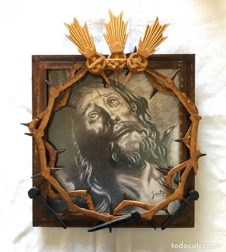 SEMANA SANTA SEVILLA. ESPECTACULAR DIBUJO ENMARCADO. CRISTO DE LA EXPIRACIÓN - EL CACHORRO -. TRIANA (Arte - Arte Religioso - Pintura Religiosa - Otros)