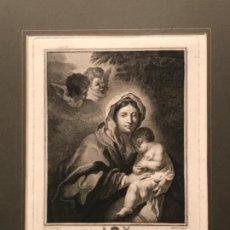Arte: GRABADO DE LA VIRGEN MARÍA Y NIÑO JESÚS DORMIDO. JOHN BOYDELL 1781. VER FOTOS.. Lote 187613900